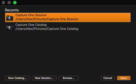Capture One Bildmanagement Sitzung Katalogen