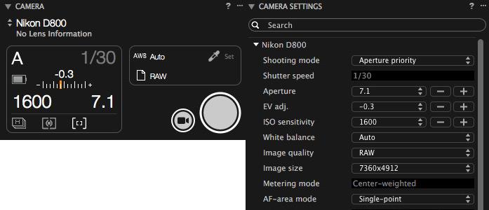 Capture One Volle Kontrolle über Kamera und Einstellungen